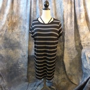 Ava and Viv Black and white striped dress 3X